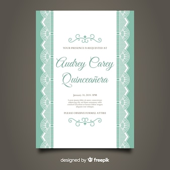 Quinceanera pizzo party card