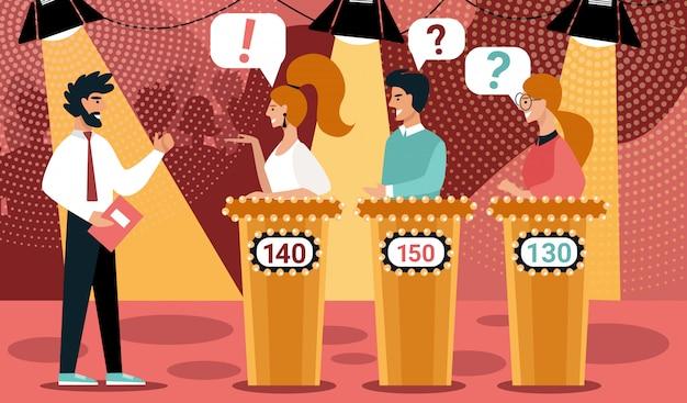 Quiz show man gioco host cartoon contestant