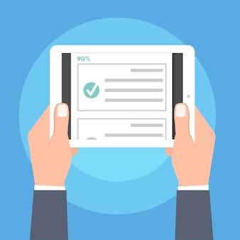 Quiz, test, sondaggi o checklist online. elenco degli esami. concetto di educazione elettronica. illustrazione vettoriale