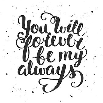 Quota che sarai sempre per sempre, lettering