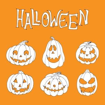Raccapricciante collezione di zucche di halloween