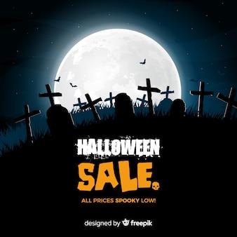 Raccapricciante composizione di vendita di halloween con un design realistico
