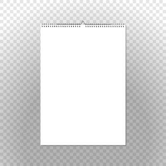 Raccoglitore del calendario verticale su trasparente. modello di calendario murale vettore limite a spirale