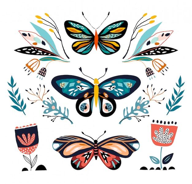 Raccolta astratta con diverse farfalle e piante, isolato
