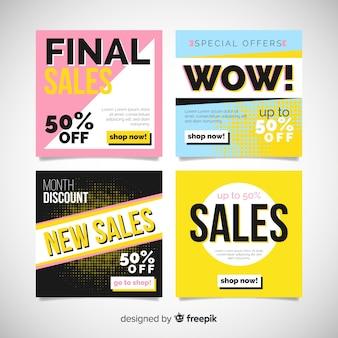 Raccolta astratta della posta del instagram di vendita di modo