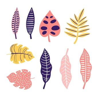Raccolta astratta delle foglie tropicali