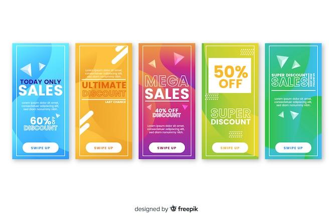 Raccolta astratta di storia di instagram di vendita
