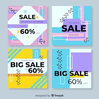Raccolta astratta variopinta della posta del instagram di vendita