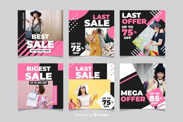 Raccolta cambiante della posta del instagram di vendita dei vestiti della ragazza