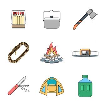 Raccolta colorata delle icone di campeggio del profilo colorato