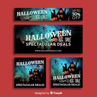 Raccolta creativa dell'insegna di vendita di web di halloween