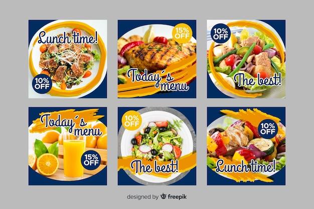 Raccolta culinaria deliziosa della posta del instagram con la foto
