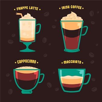 Raccolta d'annata dell'illustrazione dei tipi di caffè