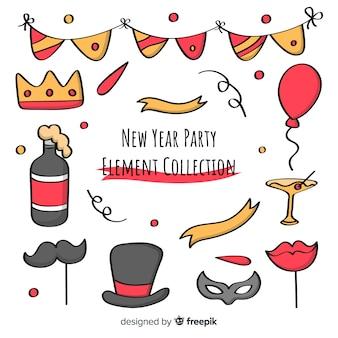 Raccolta degli elementi di photocall del fumetto del partito del nuovo anno