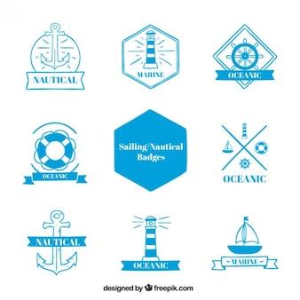 Raccolta dei badge a vela in colore blu