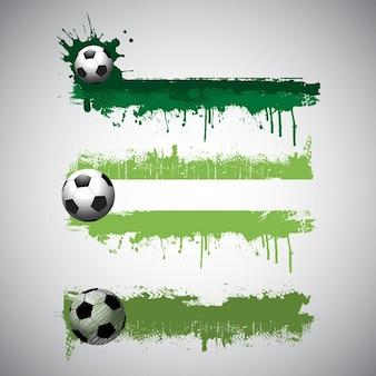 Raccolta dei banner di calcio in stile grunge