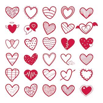 Raccolta dei biglietti di s. valentino dell'illustrazione delle icone del cuore rosso