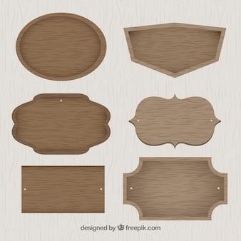 Raccolta dei cartelli in legno in design vintage