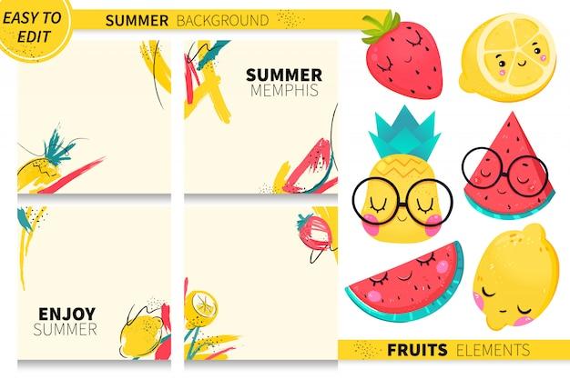 Raccolta dei frutti di estate con il fondo astratto di memphis. anguria, limone, fragola.