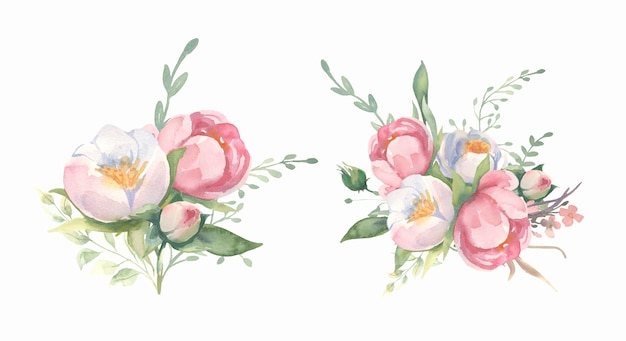 Raccolta dei mazzi dei rami del fiore dell'acquerello e della foglia verde.
