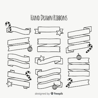 Raccolta dei nastri di natale delineata disegnata a mano