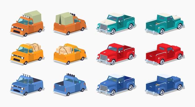 Raccolta dei pickup isometrici 3d lowpoly