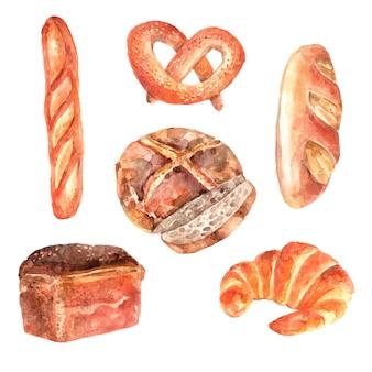 Raccolta dei pittogrammi dell'acquerello della pubblicità del forno dei pani freschi delle baguette