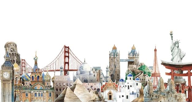 Raccolta dei punti di riferimento architettonici intorno all'illustrazione dell'acquerello del mondo