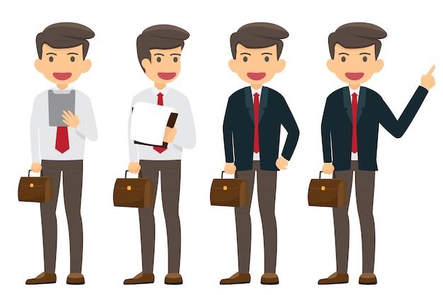 Raccolta del carattere dell'uomo d'affari felice e di lavoro isolata. personaggio di successo dei cartoni animati.