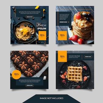 Raccolta del modello dell'alberino dell'insegna degli annunci di media sociali culinari dell'alimento