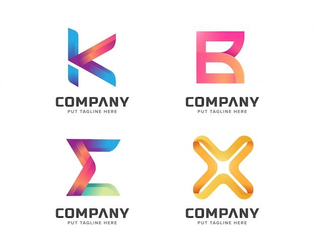Raccolta del modello della lettera logo, logotype astratto per società di affari