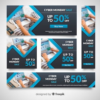 Raccolta del modello di banner fotografico di cyber lunedì