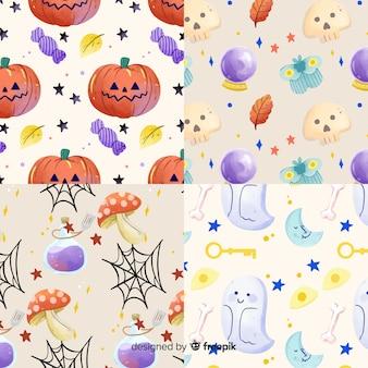 Raccolta del modello di halloween dell'acquerello