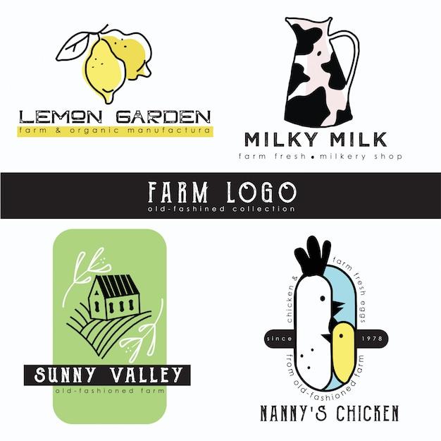 Raccolta del modello logo dell'azienda agricola