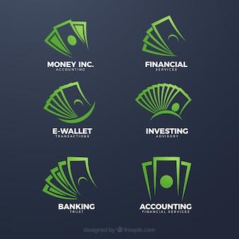 Raccolta del modello logo denaro verde