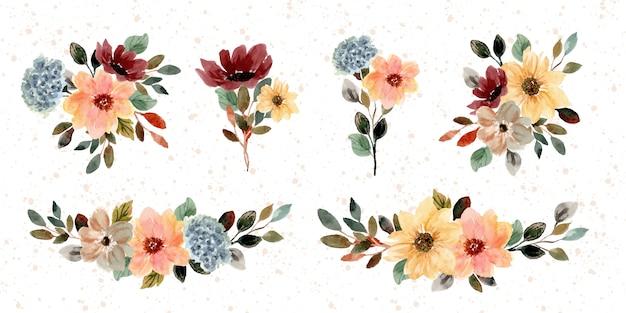 Raccolta dell'acquerello del mazzo floreale di autunno