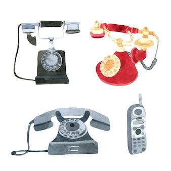 Raccolta dell'acquerello del telefono su fondo bianco