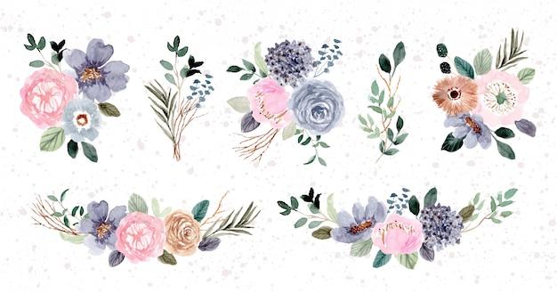 Raccolta dell'acquerello di composizione floreale rosa blu