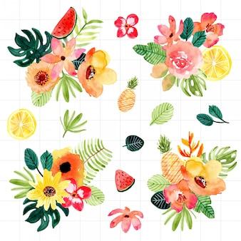Raccolta dell'acquerello di disposizione tropicale floreale e della frutta