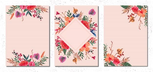 Raccolta dell'acquerello floreale dell'orchidea della carta in bianco