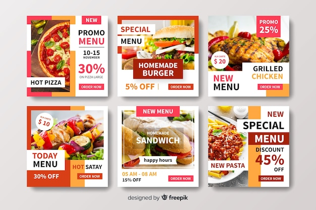 Raccolta dell'alberino del instagram del menu dell'alimento con la foto