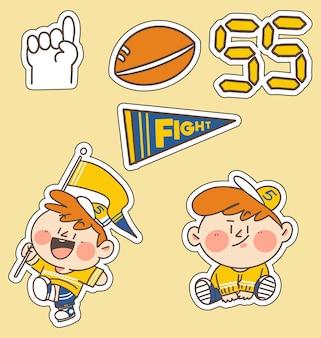 Raccolta dell'autoadesivo dell'illustrazione di scarabocchio del fan di sport del bambino. ideale per app sticker, stampa, progetto