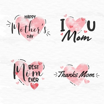 Raccolta dell'etichetta dell'acquerello di festa della mamma