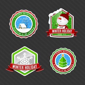 Raccolta dell'etichetta di etichetta di vacanze invernali vintage con pino casa di neve