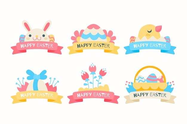 Raccolta dell'etichetta di giorno di pasqua delle uova e degli animali