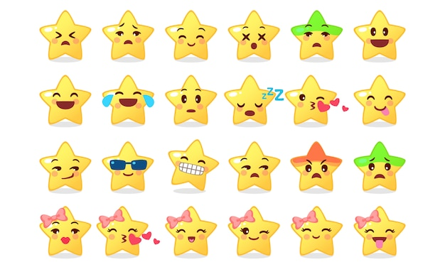 Raccolta dell'icona dell'emoticon del fumetto sveglio della stella su bianco