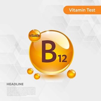 Raccolta dell'icona della vitamina b12 alimento dorato di goccia dell'illustrazione di vettore