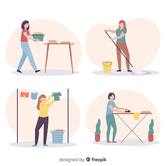 Raccolta dell'illustrazione con il processo di pulizia della casa