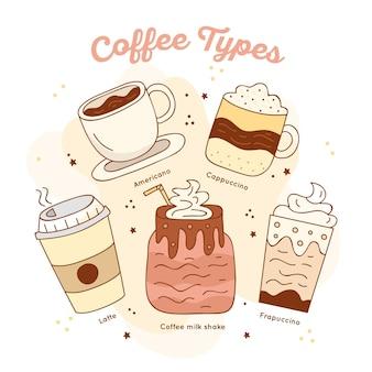 Raccolta dell'illustrazione dei tipi di caffè