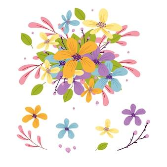 Raccolta dell'illustrazione del mazzo dei fiori 2d